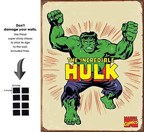 Hulk Hero Marvel Comics Retro Vintage Decor Tin Sign12.5 In Wx16 In H - With Sticky Stripes . No Damage To Walls