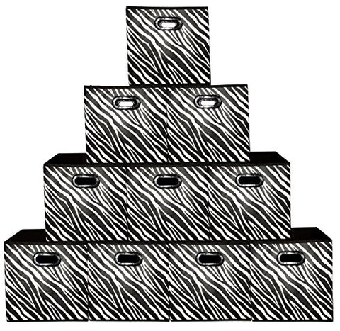 [10 Pack-Zebra Pattern] Large Storage Bins, Containers, Boxes, Tote, Baskets| Collapsible Storage Cubes For Household Offices Organization |Nursery Cubes| Dual Plastic Handle Storages Drawer