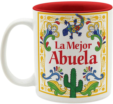 """La Mejor Abuela"" Design Color Ceramic Coffee Mug By E.H.G 
