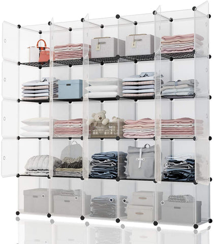 "Kousi Portable Storage Cube - 14""X14"" Cube (25 Cubes) Cube Organizer Cube Storage Shelves Cube Shelf Room Organizer Clothes Storage Cubby Shelving Bookshelf Toy Organizer Cabinet, Transparent White"
