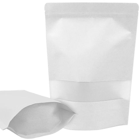 !Rakrisa 50 Pcs White Kraft Zipper Stand Up Air Tight Lock Pouch Bags With Window & Tear Notch | 3.5 X 5.5 Inch Heat Sealable 6 Mil Thick Heavy Duty Resealable Zipper Bags