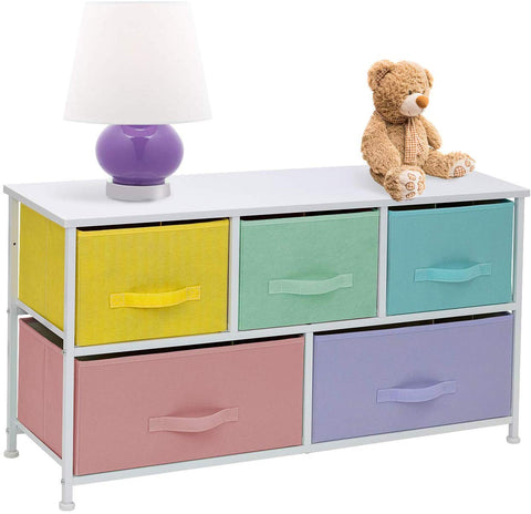 Sorbus Dresser With 5 Drawers Furniture Storage Tower Chest For Kids, Teens, Bedroom, Nursery,Steel Frame, Wood Top, Easy Pull Fabric Bins (Pastel)