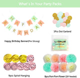 Litaus Birthday Decorations, Tri-Color Party Decorations, Happy Birthday Banner, Poms Kits, Hanging Swirls, Dot Garland For 1St Birthday Girls Decorations, Birthday Party Supplies