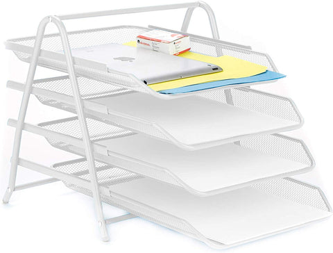 Mind Reader 4Tpaper-Wht 4 Tier, Desk Organizer With 4 Sliding Trays For Letters, Documents, Mail, Files, Paper, White