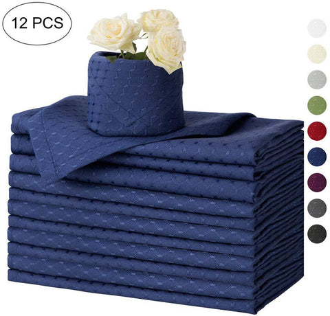 Eforcurtain Cloth Napkins 17 X 17 Inch Formal Waffle Solid Washable Polyester Dinner Napkins Oilproof, Set Of 12 Fabric Napkins Navy Blue