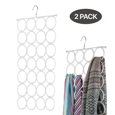 Flexzion Scarf Hanger Holder - 28 Count Circles/Ring Slots Multifunctional Hanging Rack, Home Organizer, For Socks Scarf Ties Belt Mufflers Shawl/Door Closet Organization (White, 2 Pack)