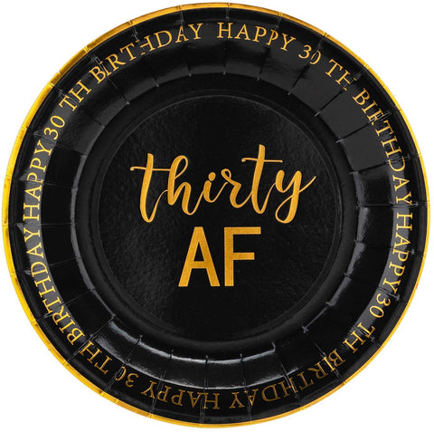 "Crisky 30Th Birthday Plates Black And Gold Dessert, Buffet, Cake, Lunch, Dinner Plates For 30Th Birthday Decorations Party Supplies, Thirty Af, Happy 30Th Birthday, 50 Count, 9"" Plate"