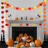 9 Packs Maple Leaves Garland Banner Pumpkin Hanging Garlands Autumn Fall Felt Garlands With Ribbon For Thanksgiving Day Halloween Party Decoration