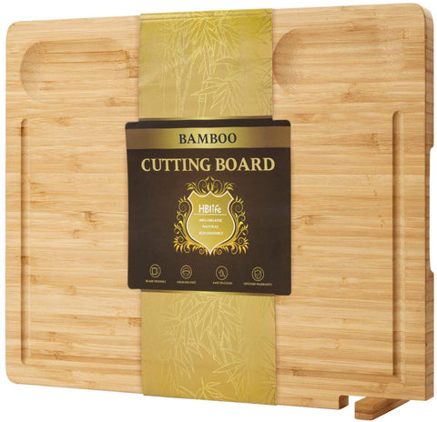 "Bamboo Kitchen Cutting Board 3 Built-In Dividers And Juice Grooves,Heavy Duty Chopping Board With Silicone Feets On Back For Meat (Butcher Block) Cheese And Vegetables Fruit-(16.9"" X 12.6"" X 0.75"")"