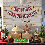 Lumberjack First Birthday Party Supplies Decorations,Buffalo Plaid Camping Wild Bear 1St Birthday Party High Chair Banner,Christmas Plaid One Baby Boy Photo Photo Booth Props