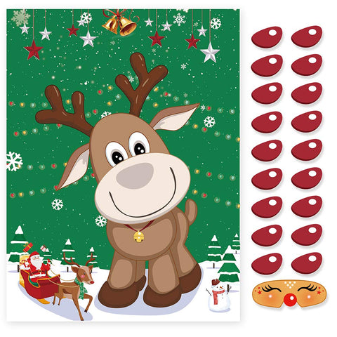 Ccinee Pin The Nose On The Reindeer Holiday Reusable Game Christmas Party Games With 36 Noses And 2 Blindfold For For Kids And Adults,
