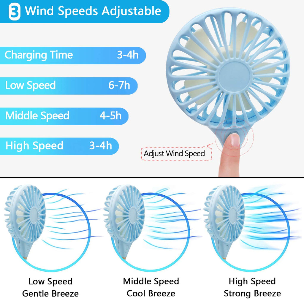 Wearable Usb Charging Fan Outdoor Neck Sports Portable Removable blue