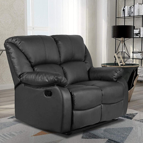 Merax Recliner Sofa For Living Room Pu Leather Recliner Loveseat Reclining Loveseat Sofa Manual Recliner Seating Sofa (Loveseat, Black)