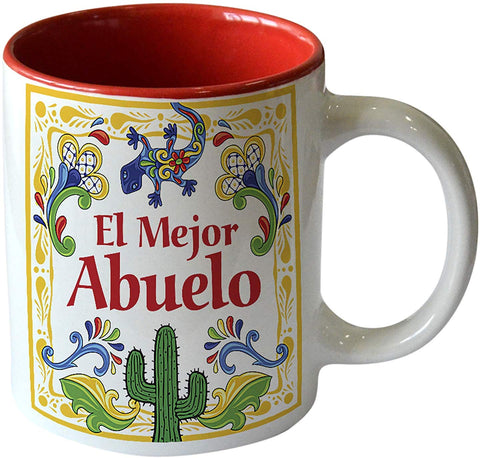 """El Mejor Abuelo"" Design Color Ceramic Coffee Mug By E.H.G 
