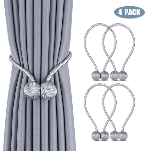Sohour Home Curtain Tiebacks, Magnetic Curtain Buckle, 18Inch Drape Tie Backs, European Curtain Decoration,Weave Rope Holdback Holder, For Small, Thin Or Sheer Window Drapries (Gray, 4)