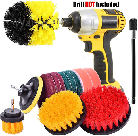 Waroom 14Pack Drill Power Scrubber Cleaning Brush Set With Extend Long Attachment All Purpose Drill Scrub Brushes For Grout, Floor, Tub, Shower, Tile, Bathroom And Kitchen Surface & Automobile