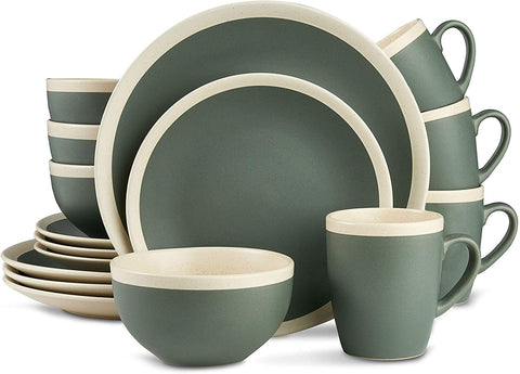 Stone Lain Stoneware Dinnerware Set, 16 Piece, Green And Cream