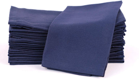 Amour Infini Cotton Napkin Set Of 12 (18 X 18 Inches), Navy Blue, 100% Cotton, Highly Absorbent, Machine Washable