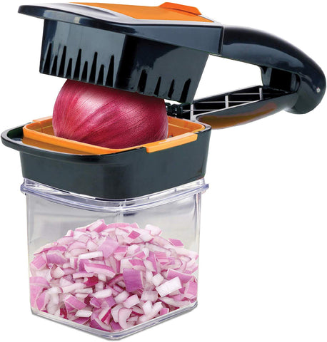 Nutrichopper With Fresh-Keeping Container - Chops, Slices, Cubes, Wedges  Multi-Purpose Food Chopper With Stainless Steel Blades As Seen On Tv