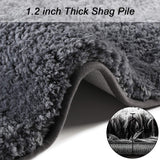 Seavish Luxury Grey Bath Rug, 2Ft Round Shaggy Bathroom Rugs,Non Slip Efficient Water Absorbent Machine Washable Tufted Bath Mat Microfiber Soft Thick Plush Circular Rug Floor Carpet