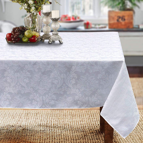 "Cait Chapman Home Collection Solid Color Damask Jacquard Woven Tablecloth And Napkin (70"" X 108"" Rectangle, White)"