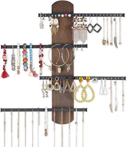 Keebofly Wall Mounted Jewelry Organizer Rustic Wood & Ample Storage With 4-Tier Jewelry Rack For Bracelets, Necklaces, Earrings, Rings Walnut