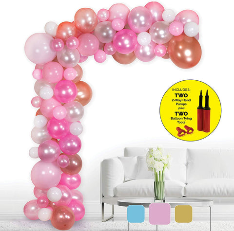 Bryson&Bella Balloon Arch Garland Kit: 2 Pumps, Decorating Tape Strip, 2 Tools | Weddings, Bachelorette Parties, Bridal/Baby Showers, Birthdays&More | 100 Pink/Rose Gold/Blush/White | Xlarge/Med/Small