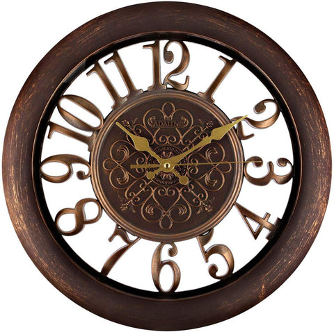 Adalene Wall Clocks Battery Operated Non Ticking - Completely Silent Quartz Movement - Vintage Rustic Clocks For Living Room Decor, Kitchen Bedroom Bathroom - Modern Retro Wall Clock Large Decorative