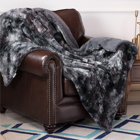 Bedsure Faux Fur Reversible Tie-Dye Sherpa Throw Blanket For Sofa, Couch And Bed - Super Soft Fuzzy Fleece Blanket For Outdoor, Indoor, Camping, Gifts (60X80 Inches, Dark Grey)