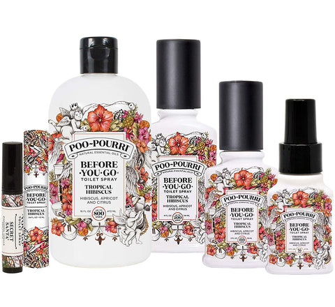 Poo-Pourri Tropical Hibiscus Collection Includes 16 Ounce Refill, 4 Ounce, 2 Ounce, 1.4 Ounce, 10Ml And Secret Santa Travel Size Spritzer