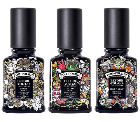 Poo-Pourri Set Includes Smoky Woods, Trap A Crap And Flush Down 2 Ounce Bottles