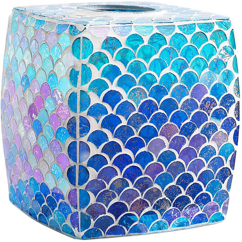 Whole Housewares Mosaic Glass Tissue Holder Decorative Tissue Cover Square Box (Fan Shape)