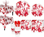 Party City Bloody Hands Deluxe Party Supplies For 18 Guests, Include Plates, Napkins, Cups, A Centerpiece, And More