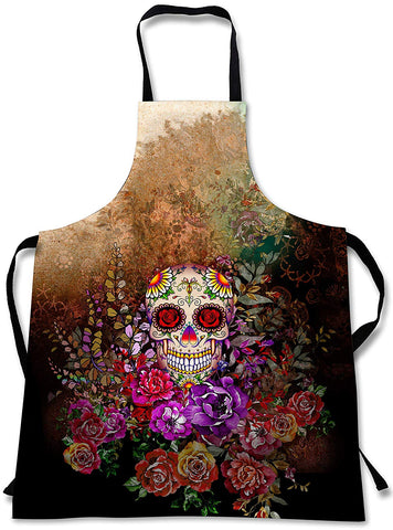Sweet Gisele Sugar Skull Cooking Apron | 3D Print Colorful Chef Aprons | Great Home Kitchen Souvenir Gift Soft | Cool Travel Accessories Made In Usa | 1 Size Unisex Bib (Flowers)