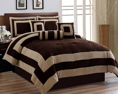 7 Pieces Chocolate Brown Suede Comforter Set California Cal King Bedding Set / Bed-In-A-Bag