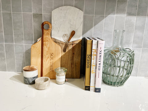 Kitchen counter top with cheese boards