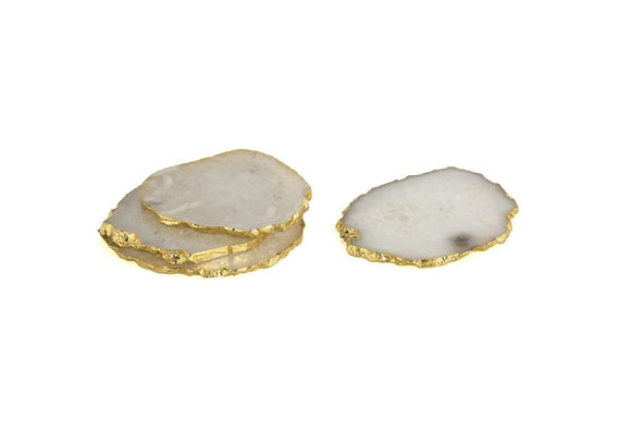 White Agate And Gold Trim Coasters Set Of 4