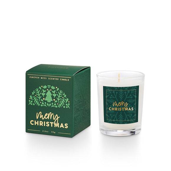 Merry Christmas juniper moss boxed votive