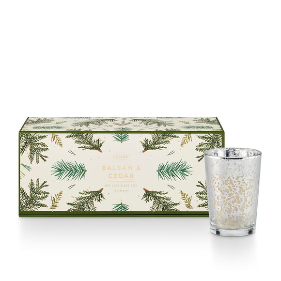 Balsam Noble Mercury glass votive gift set