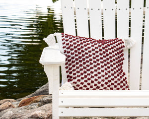 18X18 Hand Woven Outdoor Poppy Pillow Red