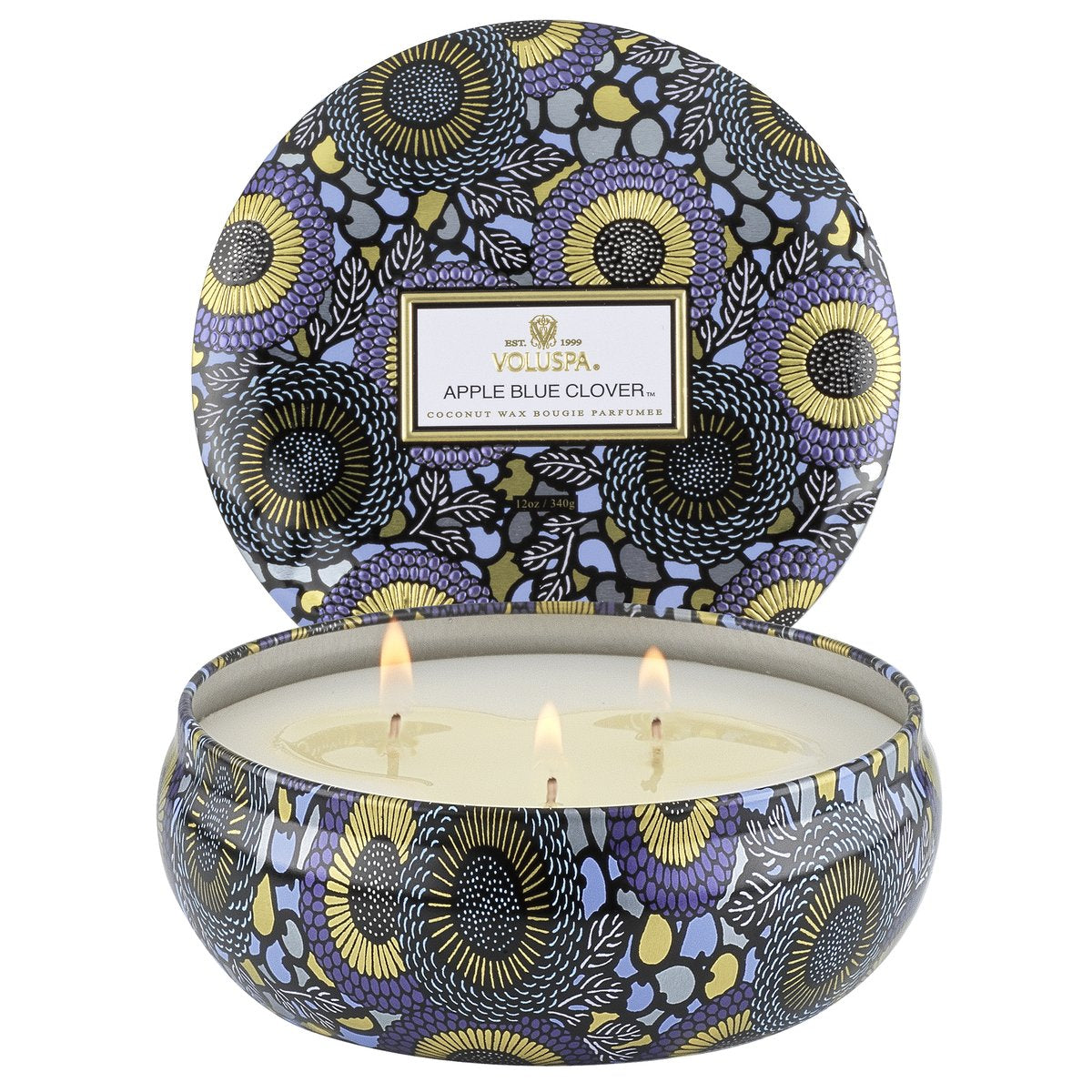 Apple Blue Clover 3 Wick Candle in Decorative Tin