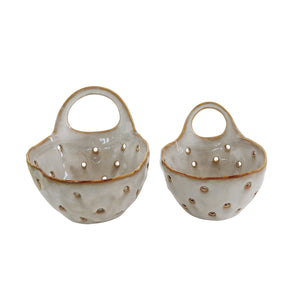 Set of 2 Cream Stoneware Colanders