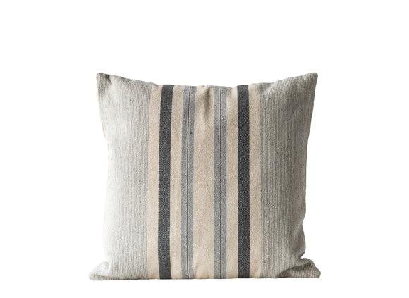 Square Grey Striped Cotton Woven Pillow
