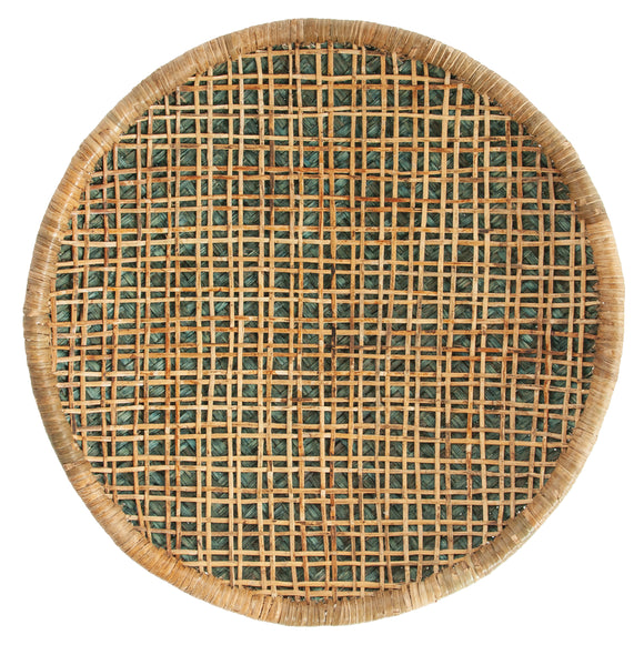 Handwoven Beige & Green Rattan Wall Décor