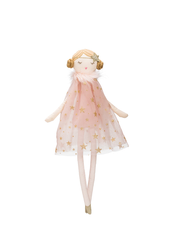 Plush Ballerina Doll with Pink & Gold Star Dress
