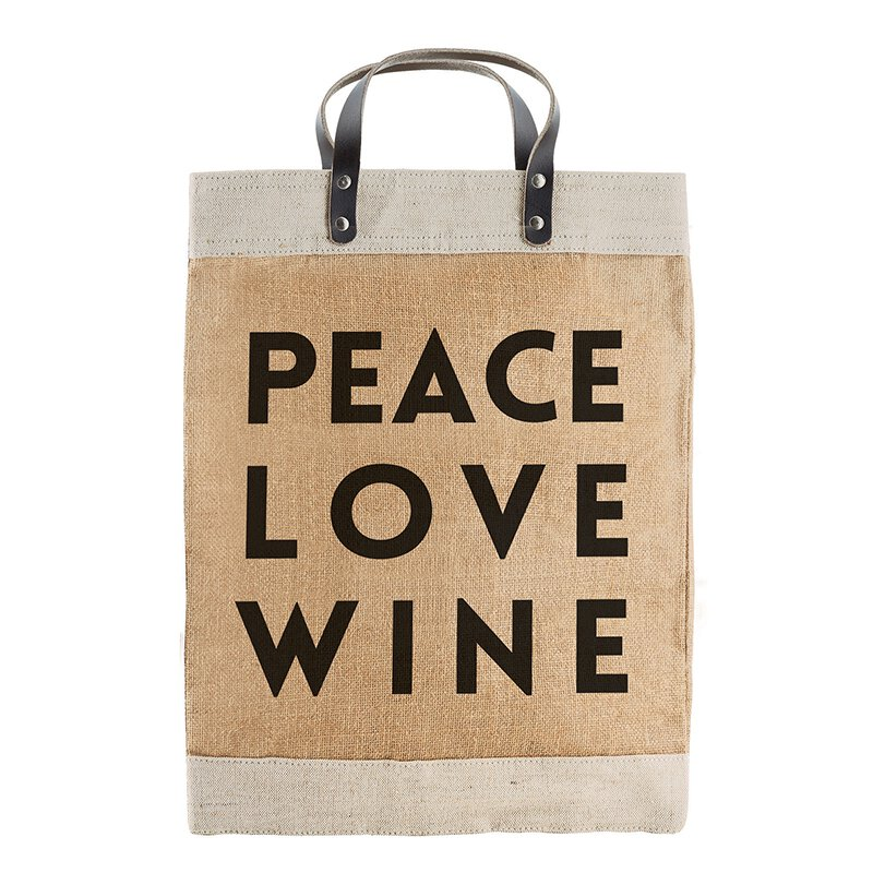 Market Tote - Peace, Love, Wine