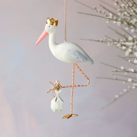 Royal Stork Ornament, pink