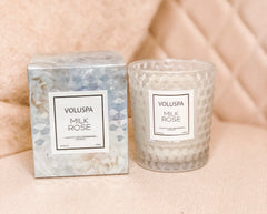 Milk Rose Boxed Texture Glass Candle 6.5oz