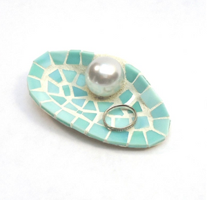Large Mosaic Sea Shell Wedding Ring Holder Dish