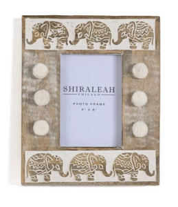 "Elysium Elephant 4""x6"" Picture Frame, Natural"